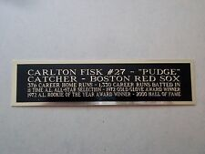 Carlton Fisk Red Sox Nameplate For An Autographed Baseball Jersey Case 1.5 X 6