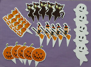 HALLOWEEN CUPCAKE TOPPERS PRE CUT PAPER CAKE DECORATIONS party