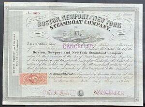 BOSTON, NEWPORT & NEW YORK STEAMBOAT CO. Stock 1865. Fall River, MA to NYC. VF++