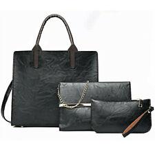 Satchel Shoulder Woman 3 Piece Clutch Wallet Purse Faux Leather