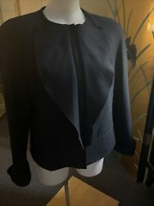 EMPORIO ARMANI Classic And Beautiful Black Wool Jacket L 46 Italy NEW