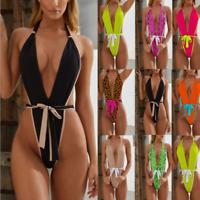 Sexy Damen Badeanzug Einteiler Rückenfreie Schwimmanzug Body Stringbody Bikini