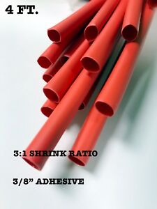 """4 Ft. RED 3/8"""" 9mm ID Dual-Wall Adhesive 3:1 Ratio Heat Shrink Tubing M23053/4"""