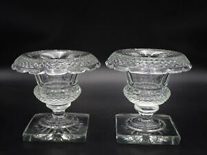 PAIR OF ANGLO IRISH GEORGIAN ROLLED EDGE TURNOVER COMPOTES DIAMOND CUTS RARE