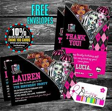 Birthday Invitations Monster High x 5 with envelopes