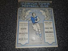 IPSWICH TOWN  v  WALSALL  1938/9  ~ APRIL 29th MEGA RARE    *****PRE-WAR*****