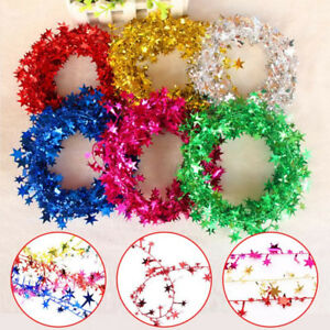 5M Multicolor Star Tinsel Garland Wire Party Decor Garland Christmas Tree Decor