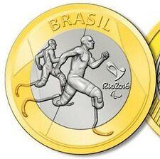 Brazil 1 real 2015 UNC Para Athletics Rio Olympics 2016 Bi-Metallic bimetal