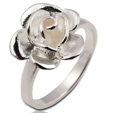 ROSE FLOWER WHITE STERLING SILVER RING Size.US=10/T