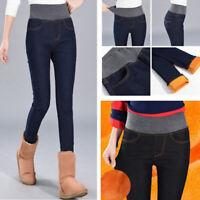 Women Warm Fleece Lined Stretch Denim Jeans Thermal Leggings Jeggings Trousers#
