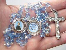 St Gemma Galgani blue RELIC locket rosary with STUNNING special engraved locket!