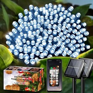 LiyuanQ Solar String Lights Outdoor with APP Controlled, 2 Set 72ft 200 LED Wate