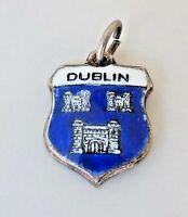 Vintage DUBLIN IRELAND Sterling Silver Enamel Travel Shield Charm