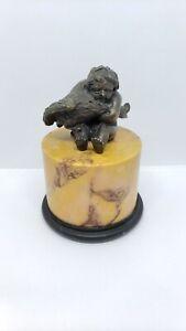 Antique Miniature Bronze A Putto Holding A Goose