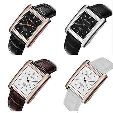 Men's Women's fashion trendy rectangle synthetic leather strap quartz Wristwatch
