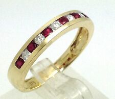 9ct gold ruby & diamond channel eternity ring, UK Size P 1/2, New, actual one.