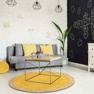home decor hand braided yellow & beige round jute rug carpet circle design rug