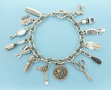 Hair Stylist Hair Dresser Hair Charm Bracelet Silver Charms Pendants / Jewelry