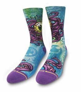 MERGE4 Jimbo Phillips Cycloptopus Adult Men's Crew Blue Purple Artist Socks