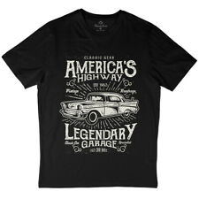 America's Highway T-Shirt American Legendary Garage Old Car Race Retro A004