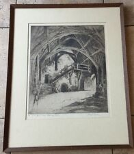 JOSEPH FRANK PIMM ETCHING ENGRAVING Great Hall Stokesay Castle Pencil Signed #