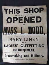 Original 1901 letterpress Poster for miss Dodd shop opening Hexham
