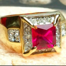Men's Gold Plated Cocktail Ring Red Ruby Imitation Size 8 Cubic Zirconia