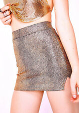 NEW NWT DOLLS KILL ROSE GOLD BLACK CRACKLED EFFECT MICRO MINI SKIRT HARD TO FIND