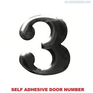 Self Adhesive House Door Number 3 Plaque Sign Chrome Home Letter Apartment Gate