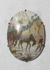 LARGE VINTAGE HORSE & VAGON PORCELAIN BROOCH PIN