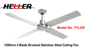 Heller 1200mm 4 Blade Brushed Stainless Steel Ceiling Fan 'TYLER'