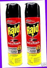 2 Raid ANT & ROACH Defense System LEMON SCENT Killer Spray KILLS ON CONTACT