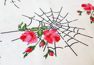 Ivory Kiss Of The Spider Woman Charming Gertie Michael Miller rose web fabric
