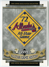 1972 ALL STAR GAME AT ATLANTA BRAVES OFFICIAL MLB BASEBALL UPPER DECK PATCH