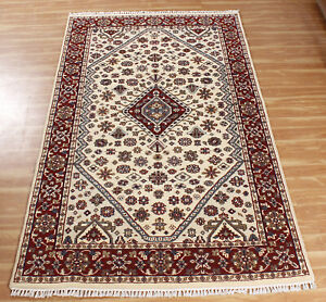 Handmade Rugs Hand Knotted Area Carpet Ivory Red 'Karnpura' All Wool 5x8
