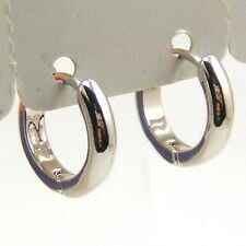 "0.55"" 5g SMOOTH CIRCLE CLASSICAL 18K WHITE GOLD PLATED HOOP EARRINGS GEP 5100e"