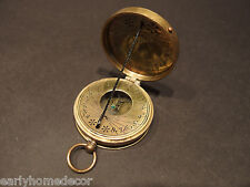 Antique Style Solid Brass Timekeeping  Sundial Pocket Compass Watch