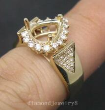 Pear Cut 7×9mm Solid 14K Yellow Gold Natural Diamond Semi Mount Engagement Ring