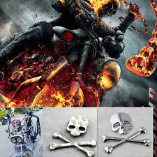Chrome 3D Skull Demon Metal Bone Motorcycle Emblem Logo Badge 3M Decal Sticker