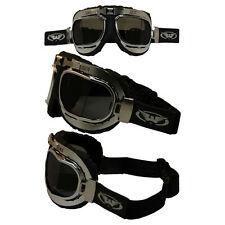 GLOBAL VISION CLASSIC 2 SMOKE LENS OLD SCHOOL BOMBER AVIATOR MOTORCYCLE GOGGLES