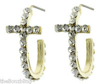 Earrings with Crystal Bling Classic Beauty Gold Cross Hoop