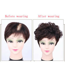100% Human Hair Natural Wavy Short Topper HairPiece Clip in Toupee Wig For Women