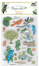 Papermania clear rubber stamp set Birdsong birds parrots trees & best wishes
