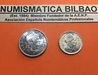 @LUJO@ BILBAO 1 PESETA + 2 PESETAS 1937 EUSKADI KM#1 KM#2 GUERRA CIVIL EUZKADI