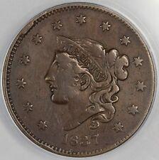 1837 1c Coronet or Matron Head N-17 Large Cent ANACS VF 25
