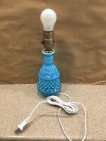 Vintage Fenton Blue Opalescent Hobnail Night Table Lamp Works Rare