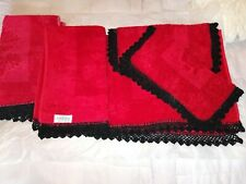 Set 1960s Bathroom Towels Canon Cavalier Red Embossed Roses