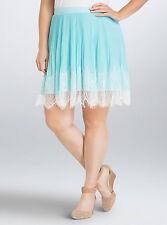 Torrid Pleated Chiffon Lace Skater Skirt Turquoise White 16 AKA 1 1X #3776
