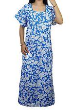 "Indiatrendzs Women's Cotton Nighty Floral Print Blue Sleepwear Maxi Nighty 54"""