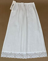 Vintage Sears Womens Half Slip Cotton Blend Midi Lace White USA Size S NOS